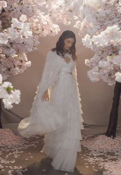 Discover our new bridal collection, 'Fallen For You', featuring tiered ruffle wedding gowns, embellished wedding dresses and soft ombre ballerina length skirts. Needle And Thread Wedding Dresses, Tulle Hair Bows, Wedding Cape, Bridal Cape, Tulle Wedding, Traditional Gowns, Embellished Dress, Bridal Hair Accessories, Beautiful Gowns