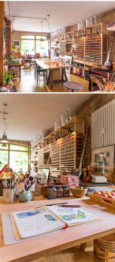 Studio Gosha of Fine Arts, Potsdam, Germany, photo by ©Torsten Fritsche. I want my art room in my house too look like this Home Art Studios, Studios D'art, Art Studio At Home, Studio Room, Artist Studios, Design Studios, Craft Studios, Art Studio Spaces, Dream Studio