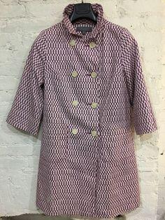 Proenza Schouler Pea Coat Size Small Cotton GeoMetric Print 3/4 Sleeve    eBay