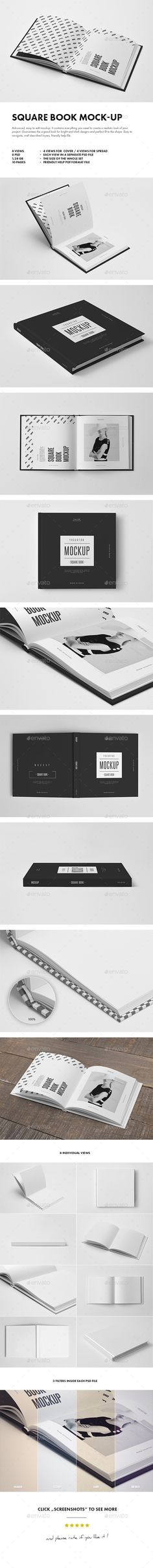 Square Book Mock-up. Advanced, easy to edit mockup. It contains everything you need to create a realistic look of your project.