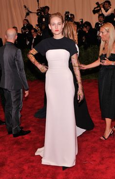 Leelee Sobieski donned a black-and-white Christian Dior gown. #MetGala