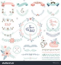 stock-vector-rustic-hand-sketched-wedding-elements-set-floral-doodles-leaves-branches-flowers-birds-435389365.jpg (1500×1600)
