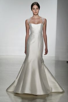 Fit and flare wedding dress with portrait neckline by Amsale