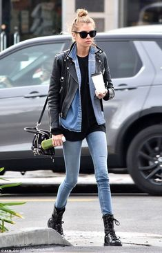 Stella Maxwell looks hipster-chic in leather and denim outfit - . Stella Maxwell looks hipster-chic in leather and denim outfit - the celebrity style Hipster Chic, Stella Maxwell, Double Denim, Leather Jacket Outfits, Denim Outfit, Biker Jacket Outfit Women, Military Boots Outfit, Biker Boots Outfit, Moto Jacket