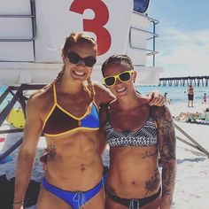 One hour till go time here at @beachbrawl ! Oh we ain't no weightlifters today  @luluskie #cardiobunnies  For time: 300m Open Ocean Swim 250m Run (sand) 25 DB S2OH (35) 75 Cal Assault Bike 25 DB S2OH (35) 500m Run (sand)  @fitaid @purestrength_co @movefastliftheavy @theoutlawway @mypowersupply @athleteps