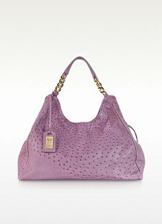 Ghibli Purple Ostrich Leather Hobo Bag. Purple Ostrich Leather Hobo Bag by Ghibli is crafted of textured purple ostrich with gold tone accents, zip closure and signature lined interior. Made in Italy. http://www.eu.forzieri.com/handbags/ghibli/gh131113-019-00