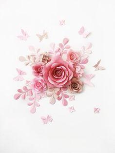 Conjunto de 7 flores grandes de papel Paoer Kwaves y mariposas - pared de la flor de papel flores de papel - decoración de la pared de la flor de papel-