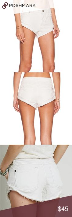 Free people white irreplaceable denim shorts It's 27 style is very similar to one teaspoon bandits but not oversized, they are true to size so these are just a tad too big one me :( they are NWT, I'll post actual pics when I get home Free People Shorts Jean Shorts