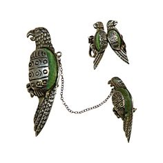 Mexican Silver & Green Stone Parrot Brooch with Matching Screw-back Earrings from San Marcos on Ruby Lane