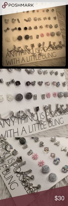 30 pairs of earrings💖🎀 Anything is possible with a little bling💕 you get all 💕 classy,cute,stylish,girly,modern,glam,fancy styles to wear out each day of the month!💖 new💕 never used💕mint condition 💕 Jewelry Earrings