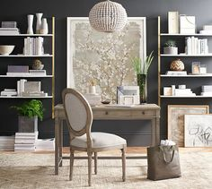 Olivia Wall Mounted Shelves | Pottery Barn...small desk and shelving.  pair with project table.