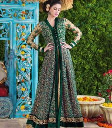 Buy Green net and velvet embroidered semi stitiched salwar with dupatta party-wear-salwar-kameez online