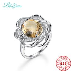 >> Click to Buy << I&zuan Luxury Rings For Women 7.38ct Natural Citrine Ring Real 925 Sterling Silver Jewelry Flower  Checkerboard Gems Ring #Affiliate