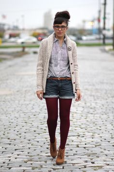I love Veronika's outfit, but ALSO I think I have to wear my cranberry tights with booties. Yes. Now.