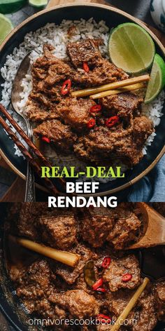 This beef rendang recipe yields buttery, juicy beef in a thick, rich, caramelized curry sauce. Learn how to make authentic Indonesian beef rendang. Indian Food Recipes, Asian Recipes, Healthy Recipes, Healthy Food, Indonesian Recipes, Indonesian Food, Indonesian Beef Rendang Recipe, Slow Cooker Recipes, Cooking Recipes
