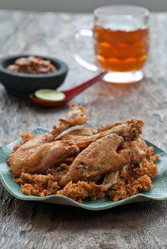 Indonesian fried chicken (ayam goreng kremes)