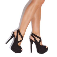 Black Strappy Peep Toe