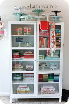 Fabric storage!! Cake stands for jelly rolls. Love!!