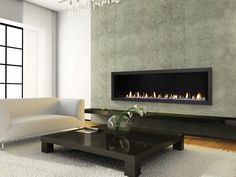 Linear gas fireplace -- Heat and Glo RED Series Gas Fireplace