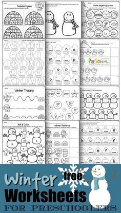 FREE Winter Worksheets for preschoolers - kids will have fun practicing counting, tracing letters, matching uppercase an Free Kindergarten Worksheets, Free Preschool, Preschool Printables, Preschool Learning, Worksheets For Kids, Preschool Activities, Learning Games, Teaching, Thema Winter Im Kindergarten