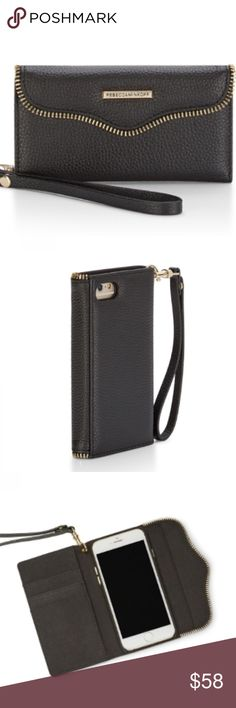 *Rebecca Minkoff* Rebecca Minkoff cell phone case/wristlet in black with gold accents, totally cute, never used but no tags Rebecca Minkoff Accessories Phone Cases