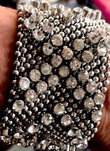 NWT Women's liquid Metal Bracelet with rhinestones Adjustable snaps /gift pouch  | eBay