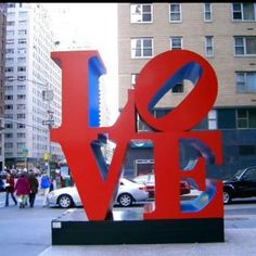 The famous LOVE sculpture by Robert Indiana, on the corner of 6th Avenue and 55th Street in NYC.