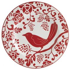 Red Bird Plate : love these whimsical plates. I have a set of these and used them for Christmas. Can also be used for any season!
