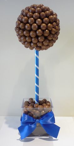 Malteser Sweet or Candy Tree with blue satin bow. Made by Sweetie Pots Food Bouquet, Candy Bouquet, Chocolate Tree, Chocolate Bouquet, Sweetie Cones, Candy Theme Birthday Party, Sweet Table Wedding, Candy Trees, Bar A Bonbon