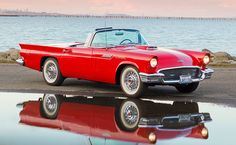 AUT 21 01 © Kimball Stock 1957 Ford Thunderbird Convertible Red Front View On Pavement By Reflection In Water American Classic Cars, Ford Classic Cars, Ford Thunderbird, Ford Motor Company, Muscle Cars, Vintage Cars, Antique Cars, Convertible, Autos Ford