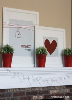 I Heart You: Valentine's Day Mantel - Landee See Landee Do Free Printables!