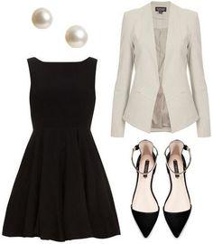White blazer over black dress