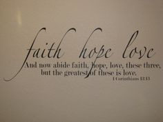 Faith Hope Love Bible Verse Wall Decal Vinyl by FancyWallStickers, $27.99