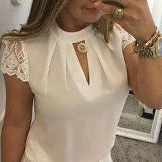 Plus Size Summer Women Shirt Chiffon Blouse Elegant Short Sleeve Lace Patchwork Sexy Blouse, Short Sleeve Blouse, Long Sleeve, Super Moda, Cheap Womens Tops, Chiffon Blouses, Lace Crop Tops, Office Ladies, Lace Sleeves