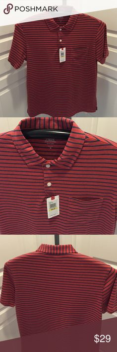 Izod Saltwater Stripe Polo / New Izod relaxed classic fit perfect for golf, in size M and 60% Cotton / 40% Polyester Izod Shirts Polos
