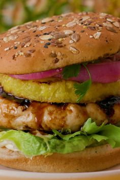 Transport your taste buds to paradise with a pineapple chicken teriyaki burger, perfected with Dave's Killer Bread 21 Whole Grains and Seeds Buns. #ad Grilling Recipes, Cooking Recipes, Healthy Recipes, Cuban Recipes, Indian Food Recipes, Simply Recipes, Great Recipes, Easy Recipes, Dinner Recipes