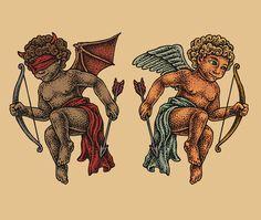 Good and evil angel tattoo