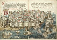 Dubrovnik. Konrad von Grünenberg - Beschreibung der Reise von Konstanz nach Jerusalem - Blatt 13v-14r - Beschreibung der Reise von Konstanz nach Jerusalem.