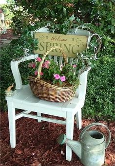 Thinking Spring!  =)  Great accent - Easy to do - you could implement this anywhere in the yard, how about on a bench you have? Love the watering can :)