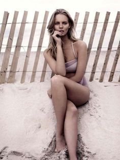 Rosy Beachwear Editorials - The Harper's Bazaar UK June 2013 Photoshoot Stars Marloes Horst