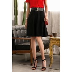 High Waist A Line Skirt ($59) ❤ liked on Polyvore featuring skirts, high rise skirts, high-waist skirt, knee length a line skirt, high-waisted skirts and brown high waisted skirt