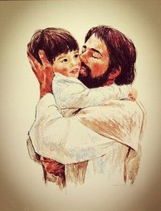 """Jesus loves the little children. """"Whether we are high above the sky or in the deepest ocean, nothing in all creation will ever be able to separate us from the love of God that is revealed in Christ Jesus our Lord. Pictures Of Jesus Christ, Christian Artwork, Jesus Christus, Jesus Painting, Jesus Art, Religious Art, Illustrations, Jesus Loves, Gods Love"""