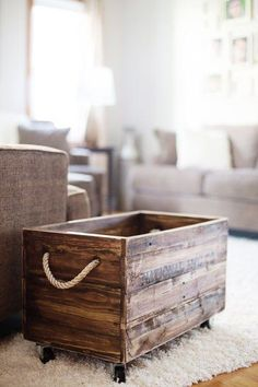 reclaimed wood box with rope handles                                                                                                                                                                                 More