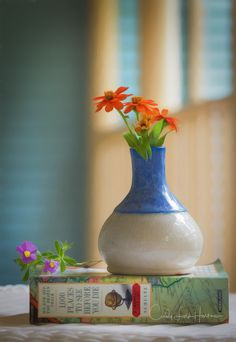 The last few flowers from pots growing in my backyard with a beautiful little blue and white vase a friend made.