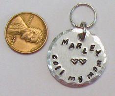 Pet ID tag personalized dog ID custom collar tag hand #maggiemaybecrafty