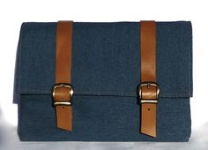 Leather and Canvas Bicycle Bag/ Lunchbox bike Bag/ Demin and leather on Etsy, $35.00