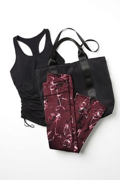 We have your gym outfit all worked out with this need-now bundle. Enjoy a breathable cinched hem tank, performance leggings and a to-and-from tote to take you from the studio to the street. Workout Tanks, Workout Wear, Workout Outfits, Workout Attire, Workout Clothes Cheap, Workout Clothing, Fitness Clothing, Looks Academia, Gym Clothes Women