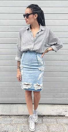 A Ripped Denim Pencil Skirt