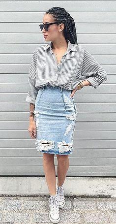 A Ripped Denim Pencil Skirt