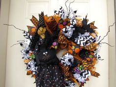 Orange and Black Halloween Witch with Cat Wall by NicoleDCreations, $109.00